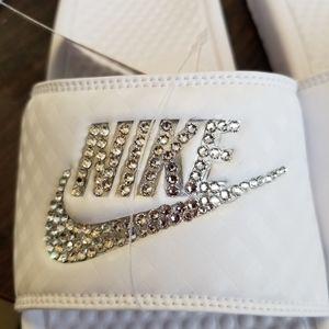 Nike slide sandals white bling custom diamond